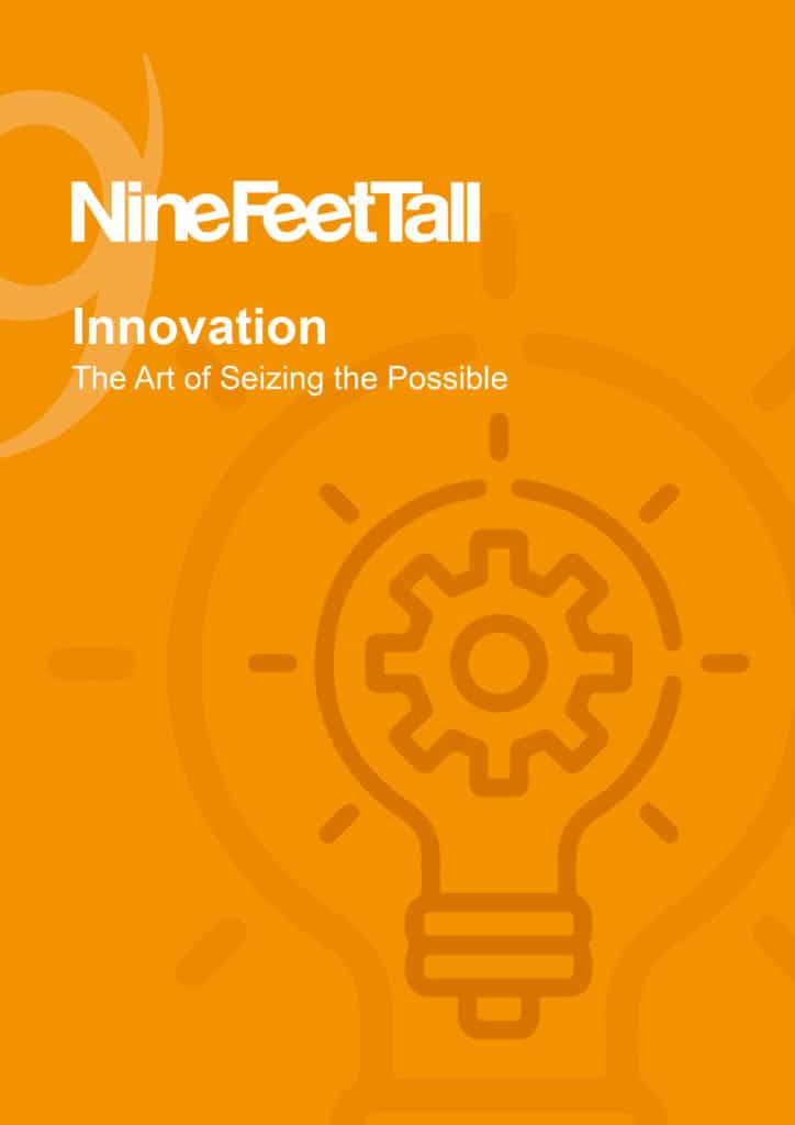 Nine Feet Tall's book Innovation the art of seizing the possible, with an orange cover and a lightbulb icon.